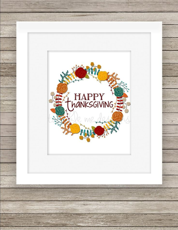 "Thanksgiving Decoration Printable: ""Happy Thanksgiving"" Sign, Thanksgiving Decor Prints, Fall Wreath, Instant Download - Digital JPG & PDF by TwinkleMeDesigns on Etsy"