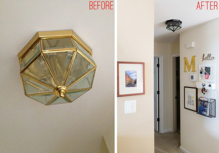 Brass builder grade ceiling flush-mount light fixture makeover.
