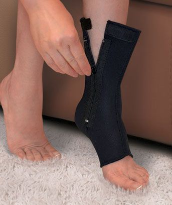 Ankle Compression Sleeve with Zipper helps support your ankle and reduce swelling. The neoprene sleeve provides relief with uniform compression and heat retenti