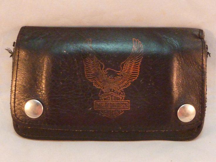 Vintage Harley Davidson Wallet Black Leather Eagle Logo Biker Trucker No Chain