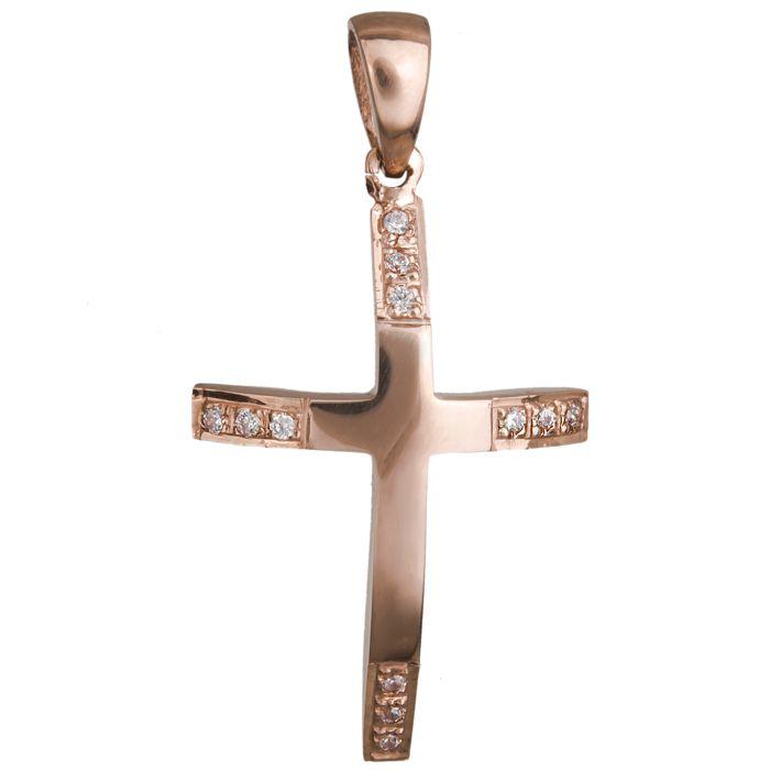Γυναικείος σταυρός σε ροζ χρυσό Κ14 020470