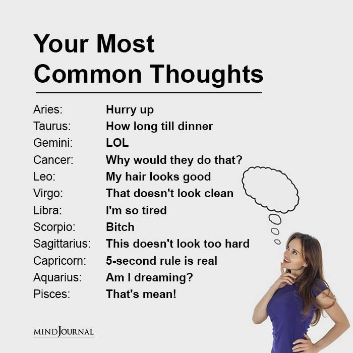 Zodiac Signs And Their Most Common Thoughts | Zodiac signs