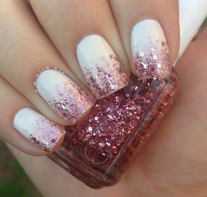 White nails, tips bronze/red glitter