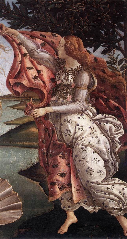Sandro Botticelli (Alessandro di Mariano Filipepi), c.1445-1510, Italian, The Birth of Venus (detail). Tempera on panel. Galleria degli Uffizi, Florence. Early Renaissance.