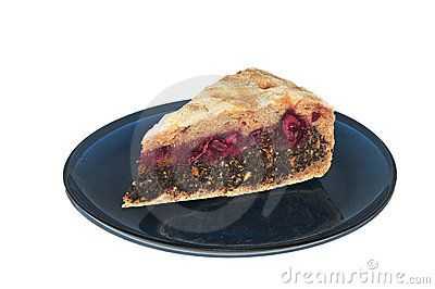 Bio sour-cherry and poppy cake on blue plate with white background