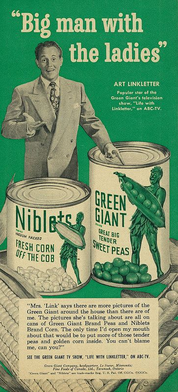 1952 Food Ad, Green Giant Sweet Peas & Niblets Corn, with Celebrity Endorsement from Art Linkletter