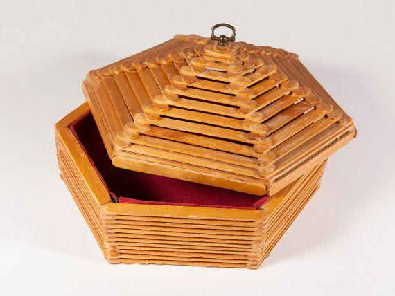ENVÍO GRATUITO: Vintage Popsicle Stick caja con tapa mango