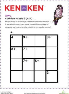 Here's a simple KenKen puzzle for students that requires problem solving and math reasoning skills, as well as knowledge of basic facts and addition.