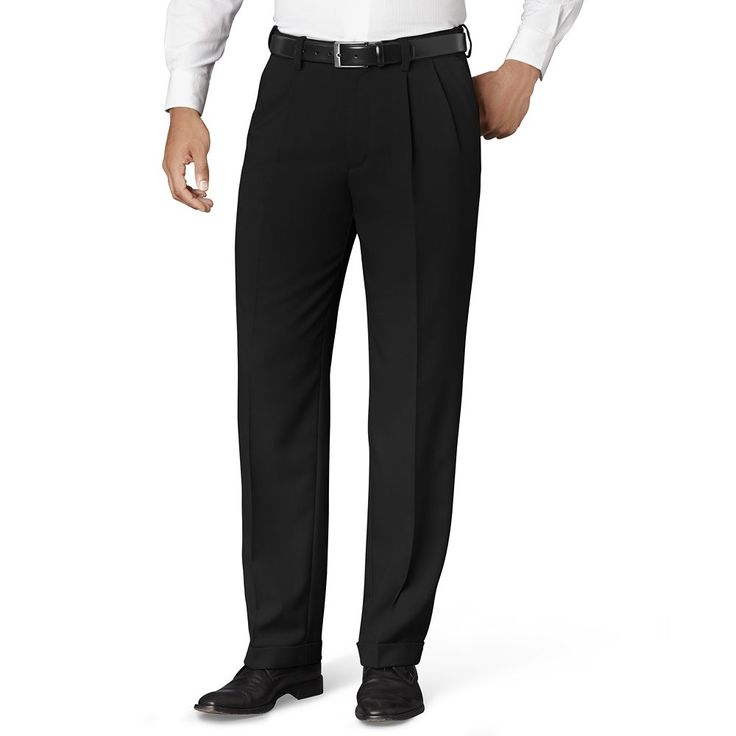 Big & Tall Van Heusen Classic-Fit No-Iron Pleated Dress Pants, Men's, Size: 42X36, Black