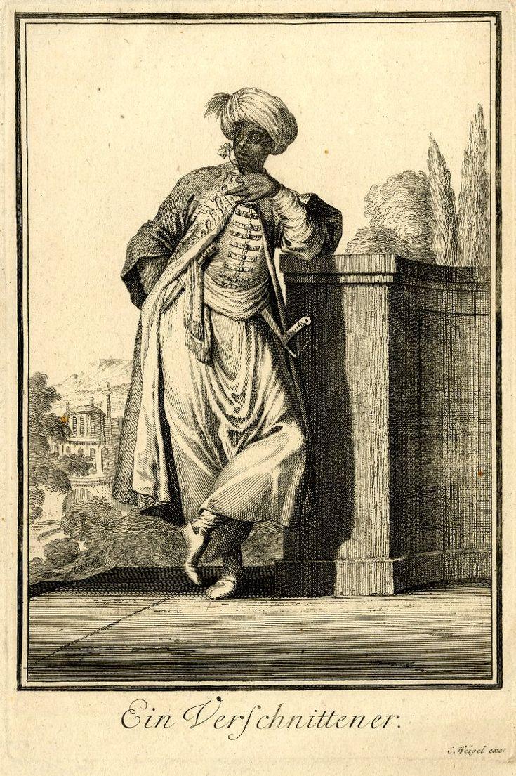 """82 A Eunuch. Abraham a Sancta Clara's """"Neu-eröffnete Welt-Galleria"""", 1702. Prints after Caspar Luyken."""