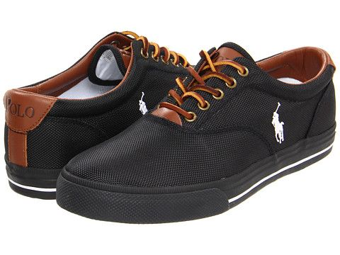 Polo Ralph Lauren Vaughn Men\u0027s Lace up casual Shoes Black Nylon
