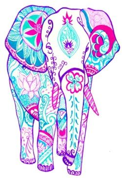 elephant tattoo in memory of my gpa...probably shaped a bit different than this, but the colorful designs inside is what I had in mind (would definitely change the face/trunk/tusks & color scheme)...i'd also incorporate a rose & stalks of wheat w/in (like the lotus flower) for my other gpa & gma