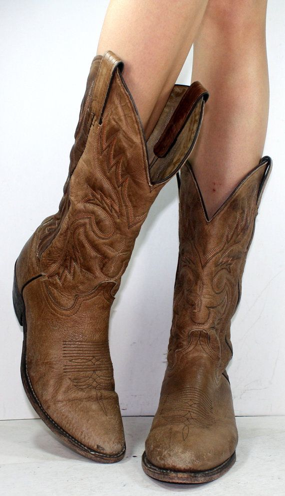 Vintage cowboy brown low heel mid calf western womens calf skin ...