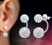 Cute Double Ball Pearl Ear Stud Earrings Women Silver Crystal Rhinestone Cubic Zirconia Jewelry Accessories Pendientes(China (Mainland))