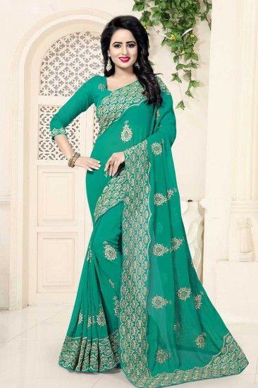 Rama green Georgette Saree With Georgette Blouse - DMV12479