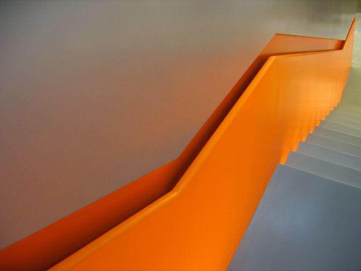 Staircase in Mercedes Benz Museum Stuttgart. Architect: UNStudio, Ben van Berkel