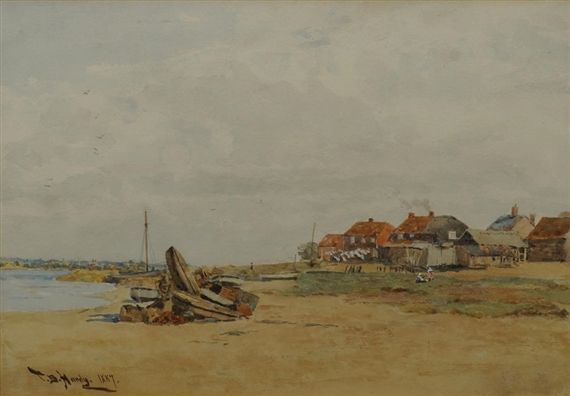Thomas Bush Hardy - Cottages by an estuary at low...
