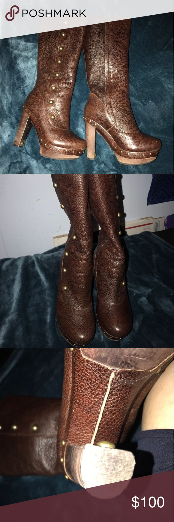 Tall ugg women leather boots size 5.5 Women leather ugg Boots Size 5.5 zipper on the inside part smoke free home UGG Shoes Heeled Boots