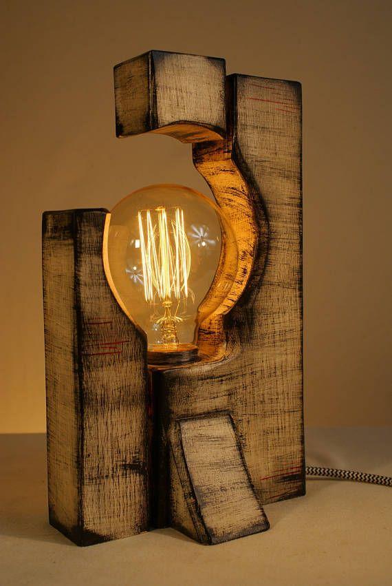 Handmade Rustic Wooden Table Lamp Edison Bulb Free Gift Lampe