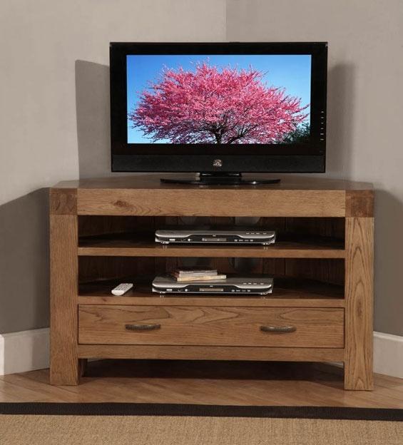 Santana Reclaimed Oak Corner TV Cabinet with 1 Drawer & 2 Shelves