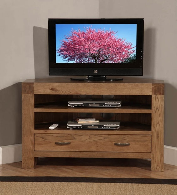 Santana Reclaimed Oak Corner TV Cabinet with 1 Drawer & 2 Shelves