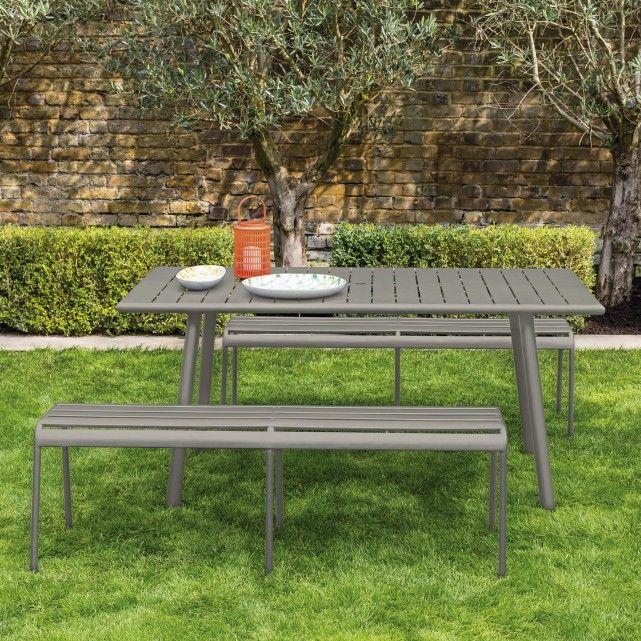 Darwin Grey Metal 6 Seat Garden Dining Set Metal Garden Table