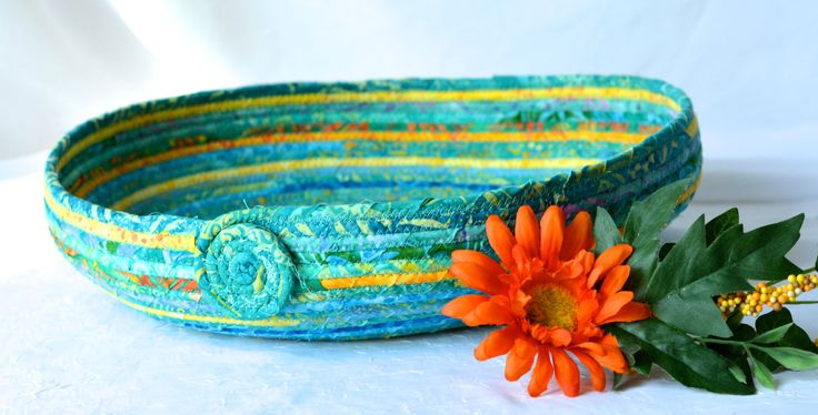 Tropical Green Bowl, Handmade Fiber Basket, Caribbean Batik Bowl, Fruit Basket, Green Tropical Napkin Holder, Bread Basket - pinned by pin4etsy.com
