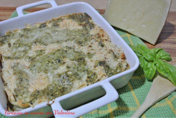 Lasagne+di+Pane+carasau+pesto+e+pecorino