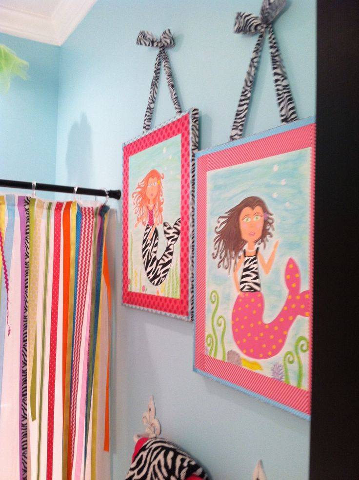 Fun And Funky Little Girls Zebra Mermaid Canvas Pictures Under The See  Bathroom Kids Ideas Sister Part 57