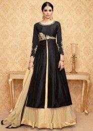 Party Wear Black Banglori Silk Embroidered Work Anarkali Suit