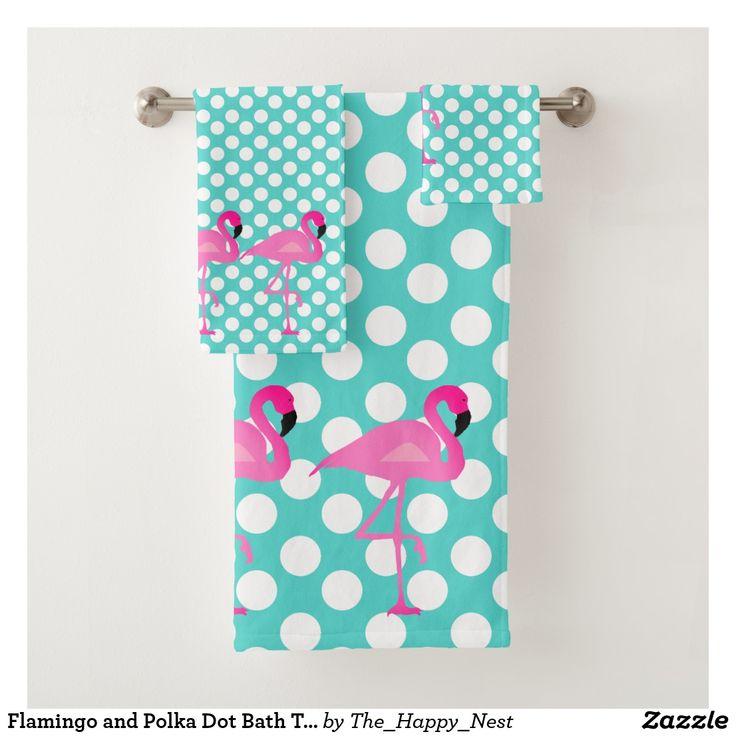 Flamingo and Polka Dot Bath Towel Set | Zazzle.com
