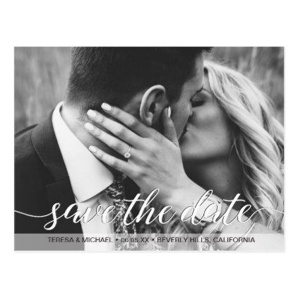 Save the Date script Photo Engagement Postcard - script gifts template templates diy customize personalize special