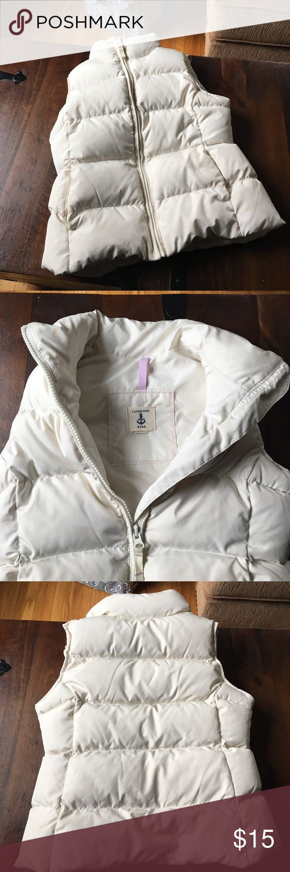 Lands end girls puffer vest Size med 5-6 puffer vest cream lands end Jackets & Coats Vests