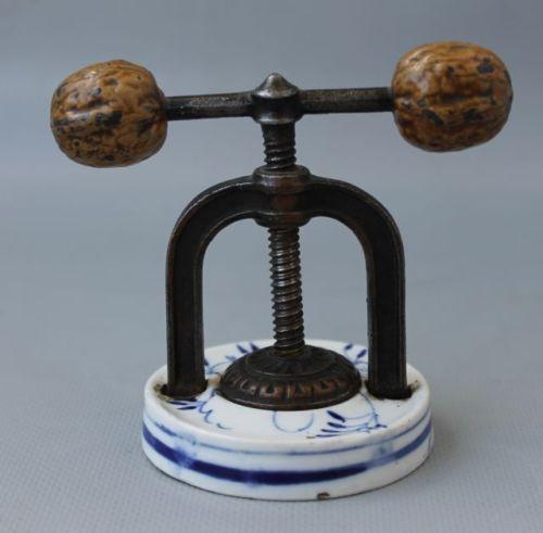 Superb-Rare-Antique-1850-German-handpainted-Brass-Bronze-porcelain-nut-cracker
