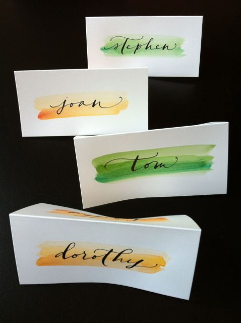 papertastebuds » Blog Archive » watercolor place cards : a small dinner party