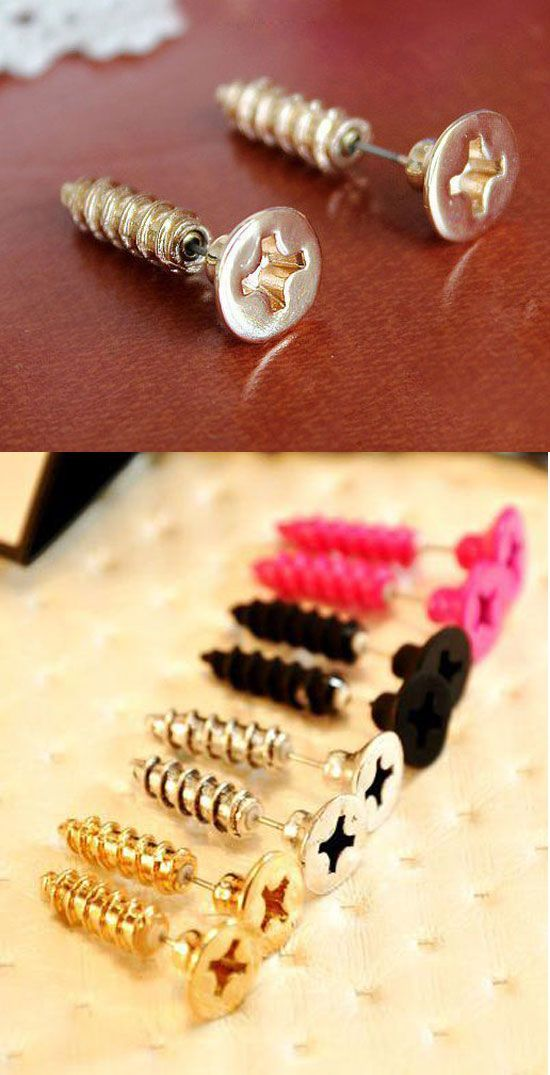 Such cute earrings! Funny Punk Screw Earring Studs | Stylish outfits for fashionable women.