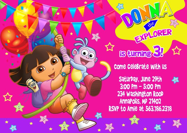 59 best dora party images on pinterest | birthday party ideas, Birthday invitations