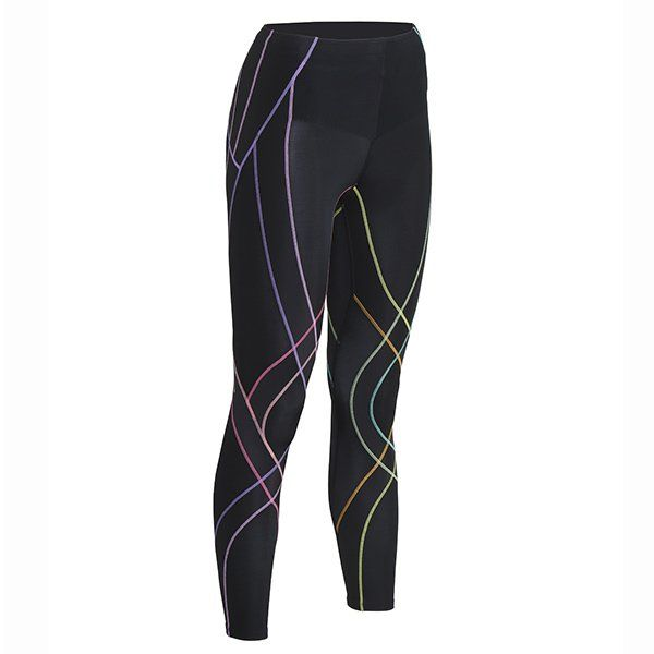 CW-X Endurance Generator Tights in Pastel Rainbow. These women's compression tights have a built in muscle and joint support web. These colourful tights are designed for endurance sports.