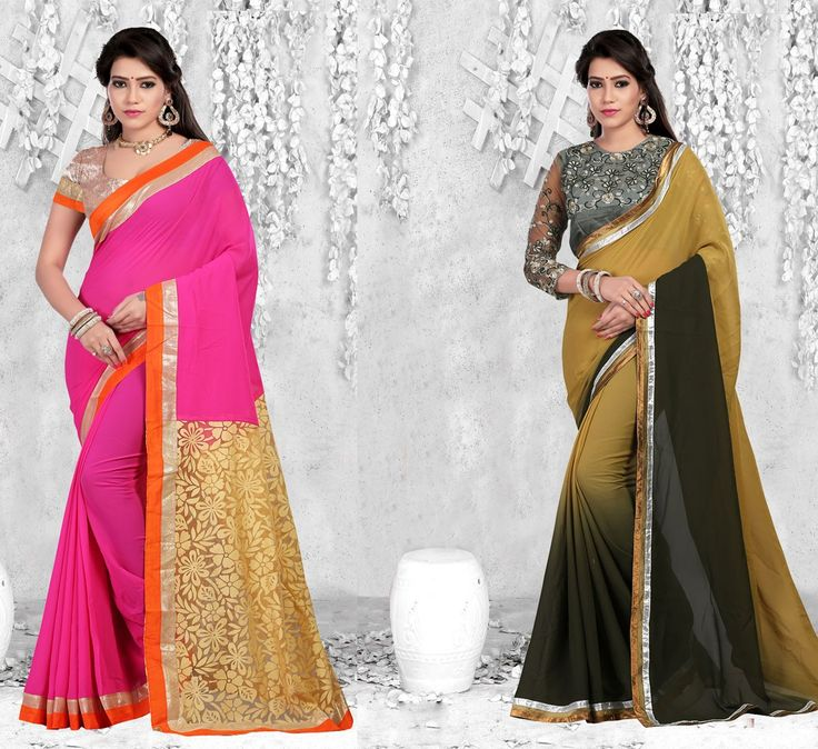 """""""For the two of us, home isn't a place. It is a #person. And we are finally home."""" Pack of 2 Designer Party Wear #Sarees"""