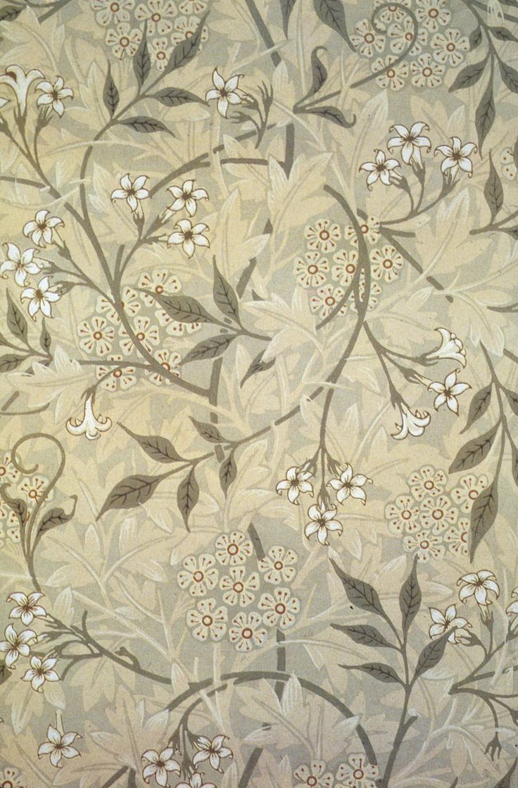 "Green & Tan Botanical ""Jasmine"" Wallpaper (1875) By Artist"
