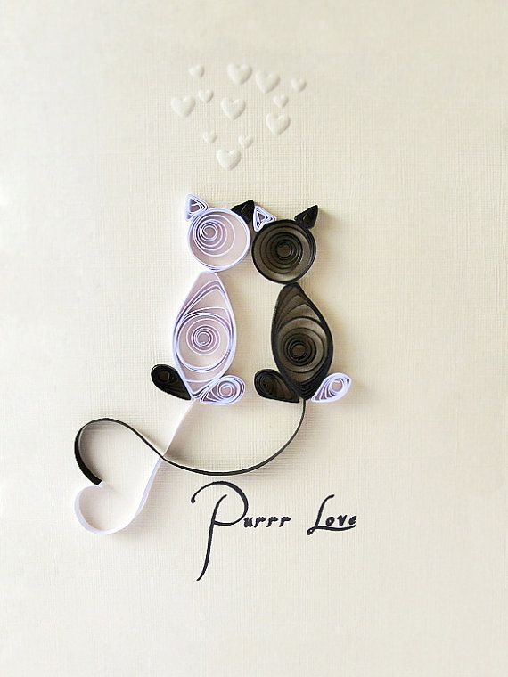 Quilled Pure Love handmade card Love Cats black by szalonaisa,  I love quilling!  I don't know why I don't do it more!....this is so adorable!