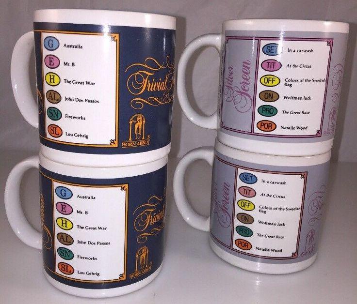 "4-Trivial Pursuit Game Coffee Mug Cup 3.25"" Vtg. 1981-1983 Silver Screen-Genus  | eBay"