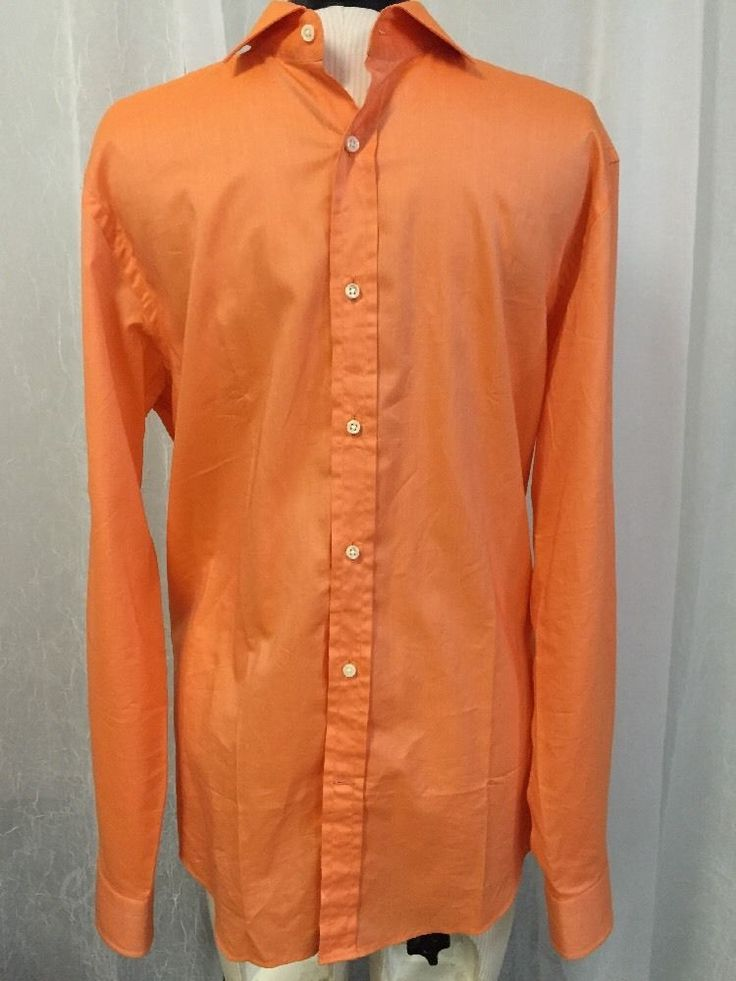 Ralph Lauren Black Label Luxurious Made In Italy Orange Dress Shirt Men's Sz 16 #RalphLauren