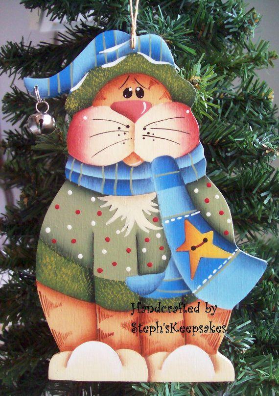 Handpainted Kitty Ornament by stephskeepsakes on Etsy, $7.50