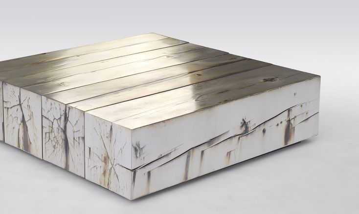Council Inc. - Periodic table. birch wood block w. silver coating. beautiful / unique coffee table.