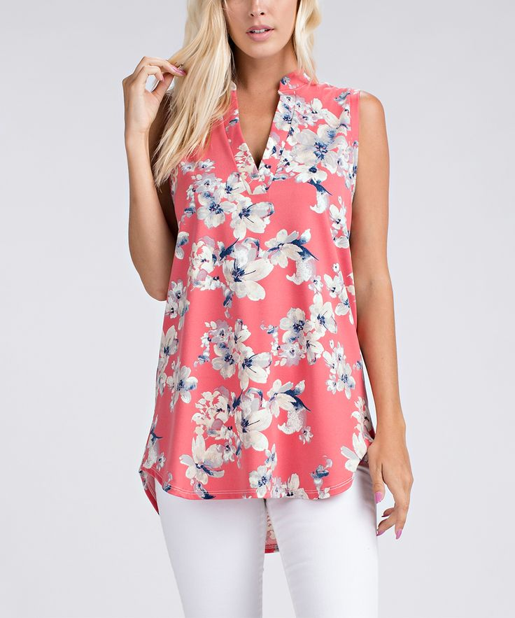 Play it cool on a warm day in this airy sleeveless v-neck top flaunting a feminine floral print and trendy hi-low hem. 28'' long from high point of shoulder to hem97% polyester / 3% spandexMachine washImported