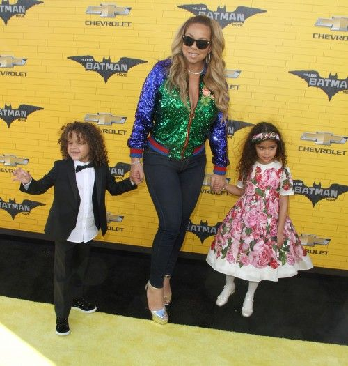 Mariah Carey takes her twins Moraccan and Monroe to the premiere of The Lego Batman Movie on February 4, 2017