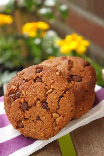 Cookies végétaliens et sains aux pépites de chocolat {Cookies sans oeuf et sans beurre} - La cuisine d'Anna et Olivia