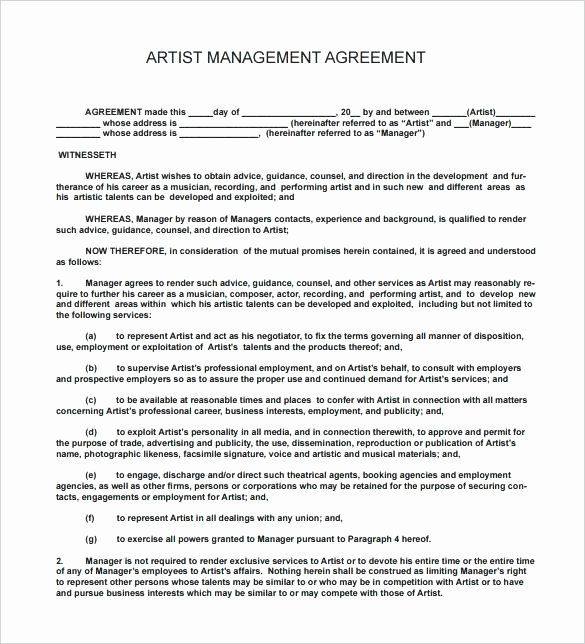 Music Artist Contract Template 2020 Contract Template