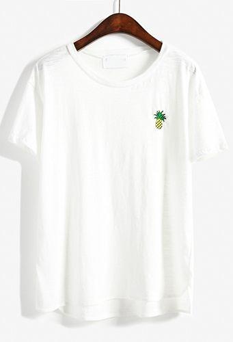 T-shirt ananas imprimé décontracté - Blanc 9.12